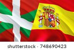 basque and spain flags. waving... | Shutterstock . vector #748690423