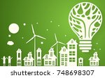 green eco city with dry tree in ... | Shutterstock .eps vector #748698307