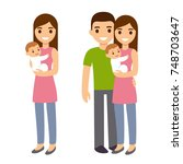 mother and father with cute... | Shutterstock . vector #748703647