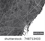 minimalistic barcelona city map ... | Shutterstock .eps vector #748713433