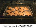 baking tray with gingerbread... | Shutterstock . vector #748723063