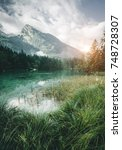 famous lake hintersee. location ... | Shutterstock . vector #748728307