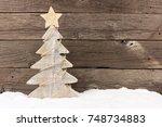 shabby chic wooden christmas...   Shutterstock . vector #748734883