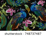 embroidery peacocks and orchid... | Shutterstock .eps vector #748737487