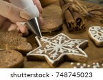beautiful christmas cakes.... | Shutterstock . vector #748745023