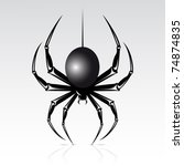 Black spider on a white background. Isolated. - stock vector