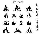 fire icon set vector...   Shutterstock .eps vector #748759537