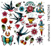 old school tattoo set | Shutterstock .eps vector #748762543