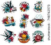 old school tattoo emblems set