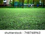 football field with artificial...   Shutterstock . vector #748768963