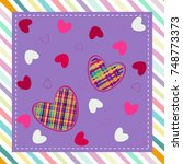seamless pattern with hearts.... | Shutterstock .eps vector #748773373