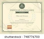 luxury certificate template... | Shutterstock .eps vector #748776703