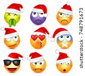 smiley emoticon set. yellow... | Shutterstock .eps vector #748791673