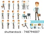 businessman in different poses...   Shutterstock .eps vector #748794007