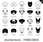 dog faces stroke icon... | Shutterstock .eps vector #748813843
