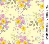 flowery bright pattern in cute... | Shutterstock .eps vector #748816753
