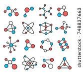 molecular structure set.... | Shutterstock .eps vector #748837663