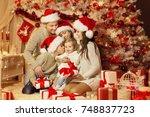 christmas family portrait ... | Shutterstock . vector #748837723