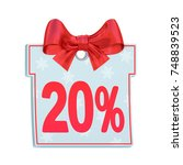 christmas sale paper price tag... | Shutterstock . vector #748839523