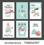 christmas hand drawn cute cards ... | Shutterstock .eps vector #748846987