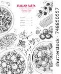 italian pasta frame. hand drawn ... | Shutterstock .eps vector #748850557