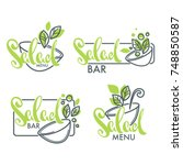 salad bar and menu logo ... | Shutterstock .eps vector #748850587