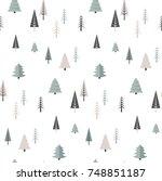 christmas winter forest... | Shutterstock .eps vector #748851187