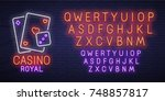casino royal neon sign  bright... | Shutterstock .eps vector #748857817