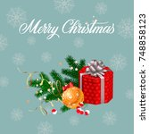 merry christmas lettering with... | Shutterstock .eps vector #748858123