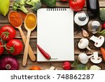 blank recipe book with...   Shutterstock . vector #748862287