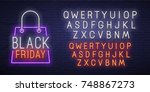 black friday neon sign  bright... | Shutterstock .eps vector #748867273