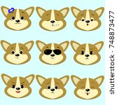 dog corgi smiley  a lot of... | Shutterstock .eps vector #748873477