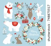 set of cute christmas clip arts ... | Shutterstock .eps vector #748875517
