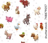 seamless pattern with funny... | Shutterstock .eps vector #748879057