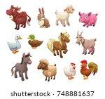 set of cute cartoon farm... | Shutterstock .eps vector #748881637