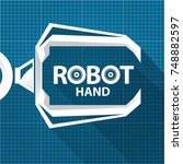 vector robotic arm symbol on... | Shutterstock .eps vector #748882597