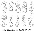 calligraphic design elements.... | Shutterstock .eps vector #748895353