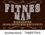 vintage font handcrafted vector ...   Shutterstock .eps vector #748897543
