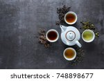 different types of tea for... | Shutterstock . vector #748898677