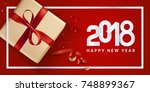modern new year 2018 greeting... | Shutterstock .eps vector #748899367