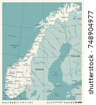 norway map   vintage detailed... | Shutterstock .eps vector #748904977