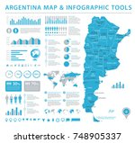 argentina map   detailed... | Shutterstock .eps vector #748905337