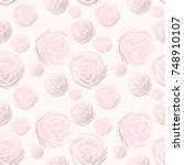 abstract roses seamless pattern.... | Shutterstock .eps vector #748910107
