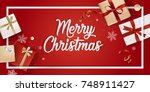 merry christmas greeting card.... | Shutterstock .eps vector #748911427