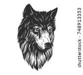 head wolf hand draw | Shutterstock .eps vector #748913353