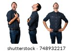 set of brunette man looking up | Shutterstock . vector #748932217