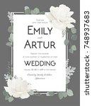 vector floral wedding...   Shutterstock .eps vector #748937683