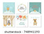 collection of 6 merry christmas ... | Shutterstock .eps vector #748941193