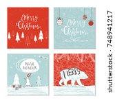 set of 4 cute christmas gift... | Shutterstock .eps vector #748941217