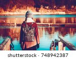 Girl Traveler  In Autumn...